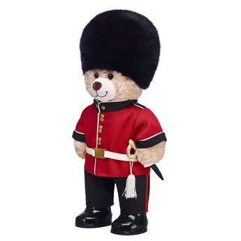The palace guard watches over the king and queen, which is a BEARY important job! This fun gift set is a perfect way to celebrate any royal bearytale! <p>Price includes:</p>  <ul>    <li>Happy Hugs Teddy</li>     <li>Palace Guard Outfit 4 pc.</li>    <li>Black Rubber Boots</li> </ul>