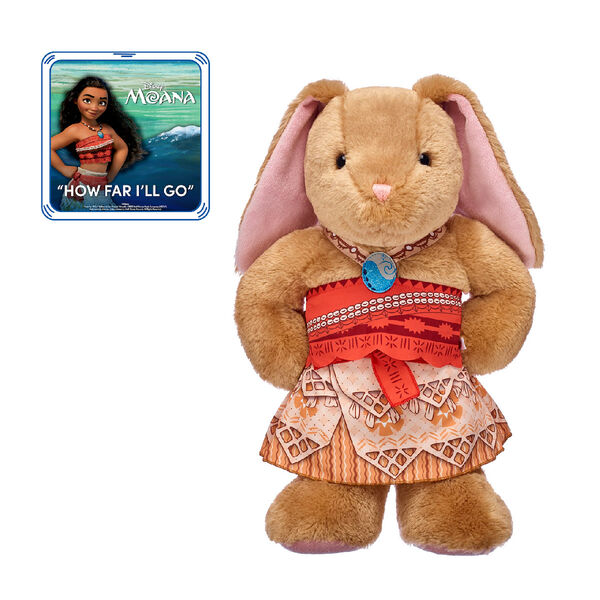 """Go on an unforgettable voyage with this Disney Moana stuffed animal gift set! Pawlette is a fearless bunny who is dressed  in her three-piece Moana costume - all set for an ocean adventure!  Give this cute Moana gift set as a special surprise for the movie fan in your life.   """"How Far I'll Go."""" Written by Lin-Manuel Miranda.  ©2016 Walt Disney Music Company (ASCAP). Performed by Moana. Under License by Walt Disney Records. All Rights Reserved."""