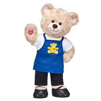 Happy Hugs Teddy looks just like a Bear Builder in this adorable stuffed animal gift set! This furry friend comes with an apron, white T-shirt, black leggings and sparkly flats. At Build-A-Bear, every furry friend is made with love, and this cute gift set is a BEARY special way to give a gift with heart.  <p>Price includes:</p>  <ul>    <li>Happy Hugs Teddy</li>     <li>White T-Shirt</li>    <li>Blue Build-A-Bear Apron </li>    <li>Black Leggings</li>    <li>Black Sparkle Flats</li> </ul>