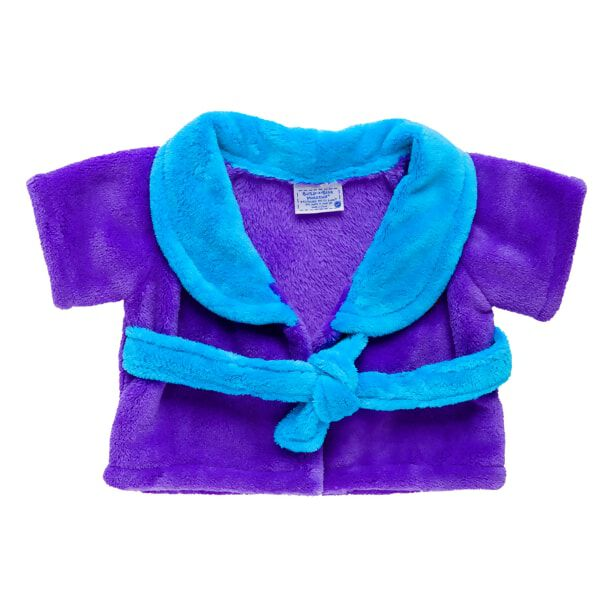 Snuggle your furry friend up in warmth and comfort with this super cute and comfy bathrobe. The purple robe has a teal collar and attached tie belt.