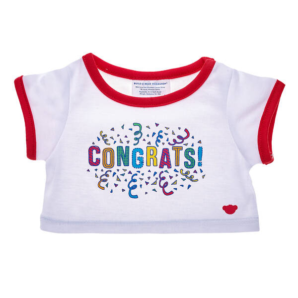 """Congratulations are in order! There's no cuter way to say """"Congrats!"""" than with this furry friend-sized T-shirt. This white and red ringer tee has a red bear emblem on the bottom left and a festive """"Congrats!"""" graphic with confetti in the middle. Dress a special furry friend in this fun T-shirt to make a one-of-a-kind gift!"""