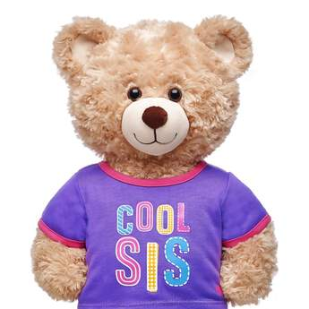 "Let everyone know who the cool sibling is with this adorable furry friend-sized T-shirt! This purple and pink ringer tee has a fun ""Cool Sis"" graphic on the front of it. Outfit any furry friend in this T-shirt to make a perfect gift!"