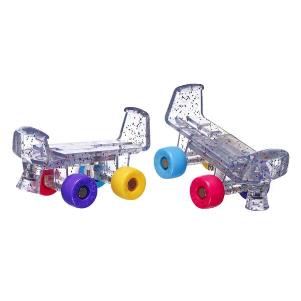 Hit the roller rink in colourful style with this delightful pair of roller skates! This pair of skates has a rainbow glitter pattern and features various coloured wheels that go great with any look! NOTE: Skates fit best with flat-soled shoes.