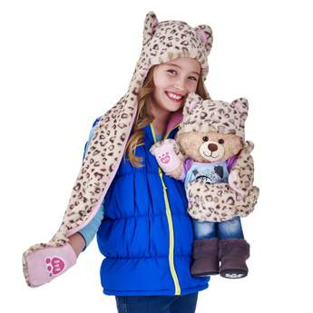Kid's Snow Leopard Hat Scarf & Mittens All-in-One - Build-A-Bear Workshop®