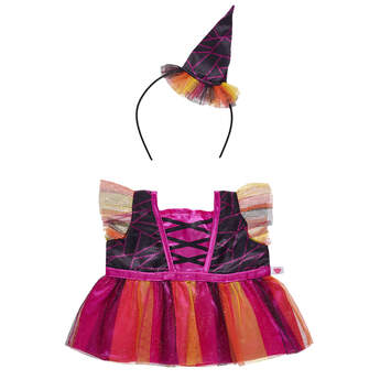 Dress your furry friend in this frightfully adorable costume for Halloween! This orange and pink witch costume for stuffed animals features a sleeveless top and colorful tulle skirt. A headband with a witch's hat attached completes this classic Halloween look.