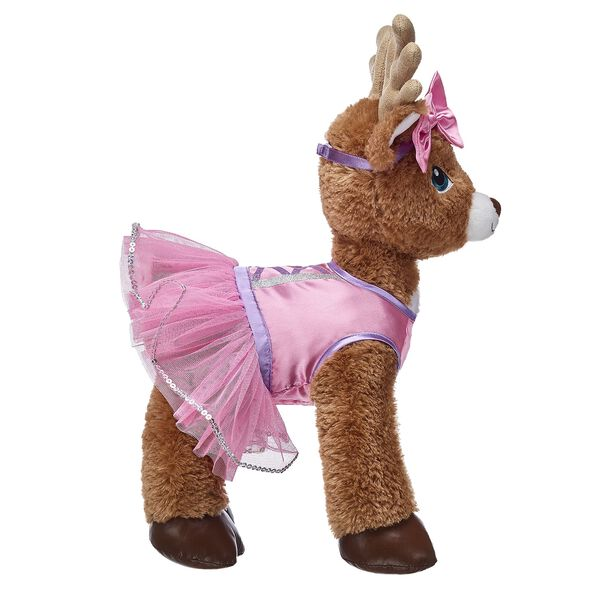 For a perfectly pink look this winter, dress your furry friend in this adorable tutu and matching bow headband! With purple trim and sequins on the tutu, this festive stuffed animal tutu & headband set adds a pop of colour to the season!