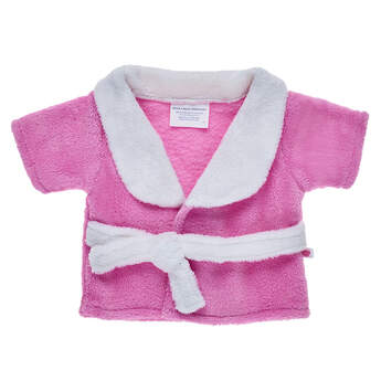 Pamper your furry friend by dressing them in this ultra-soft pink and white bathrobe for stuffed animals!