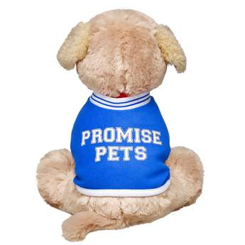 Get your Promise Pets™ furry friend into the game with this varsity warmup jacket. Your sporty pal will look sharp in this blue jacket with white sleeves, collar and trim with blue stripes, PROMISE PETS varsity letters on back and the Promise Pets Training Academy crest on the sleeve.