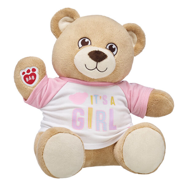 Share the most exciting news with an adorable and asthma-friendly teddy bear gift set from Build-A-Bear Workshop! With super soft fur and a warm loving smile, Velvet Hugs Teddy is sure to be a forever friend. This teddy bear meets asthma and allergy-friendly standards according to the Allergy Foundation of America, making it the perfect gift for little baby girls! Whether you're doing the big reveal yourself or giving this special teddy as a gift, this is the perfect choice for making an unforgettable memory. ASTHMA FRIENDLY and ASTHMA FRIENDLY LOGO are certification marks and registered trademarks of Allergy Standards Limited. <p>Price includes:</p>  <ul>    <li>Velvet Hugs Teddy</li>    <li>It's A Girl T-Shirt</li> </ul>