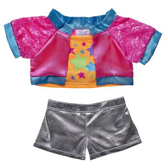 Your furry friend can take on the world in this fun neon Jacket and metallic shorts set! Shop for unique stuffed animal clothing & accessories at Build-A-Bear.