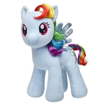 Discover your dreams with your Rainbow Dash furry friend! A light blue Pegasus with blue wings and a rainbow-colored mane and tail, Rainbow Dash is more sparkly than ever before. Add outfits and sounds to your Rainbow Dash furry friend and say yes to adventure! MY LITTLE PONY and all related characters are trademarks of Hasbro and are used with permission. ® 2017 Hasbro. All Rights Reserved.