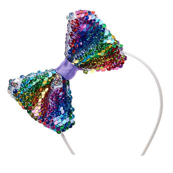 Reversible Rainbow Sequin Bow Headband - Build-A-Bear Workshop®