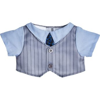 Looking for a distinguished look? This bear size gray vest has pinstripes and an attached blue dress shirt with a black and blue tie.