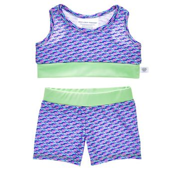 Add some activewear to your furry friend's wardrobe! This stylish tank and short set features green trim and an all-over geometric  pattern of varying pink, blue and purple colours. Sleek and sophisticated, this fun set is a must-have for your furry friend's everyday collection!