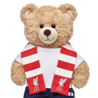 Go Liverpool! Football fans can root on their favourite club with this bear-sized scarf for their furry friend.