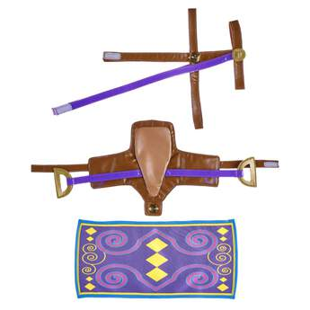 Saddle up! Inspired by Grey Arabian Horses and their love for distance racing, this Purple Arabian Saddle, Bridle & Blanket Set is a must-have for any member of the Horses & Hearts Riding Club. The detailed purple blanket features a multicoloured pattern with a matching brown and purple saddle and bridle. Paying homage to one of the oldest horse breeds in the world, this three piece set is perfect for your Grey Arabian Horse or any other Horses & Hearts Riding Club furry friend!
