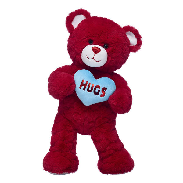 red teddy bear with hearts and plush blue heart valentines day gift set