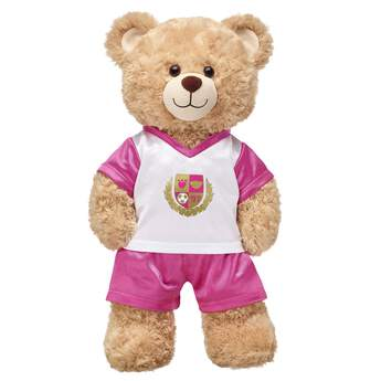 This Pink & White Football Uniform is perfect for gameday! Find stuffed animals, clothing & accessories for any occasion at Build-A-Bear.