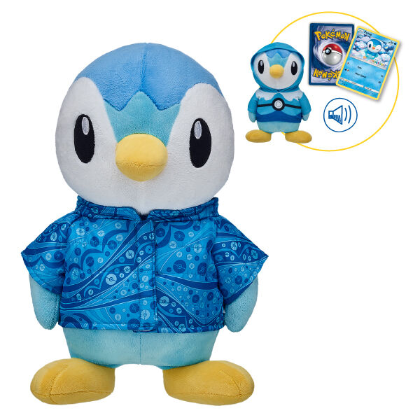 Calling all Pokémon Trainers – Piplup makes its debut in the Workshop! Known for its pride and self-reliance, but famous for its swimming skills, this little Pokémon is here to strut its stuff! This online bundle includes Piplup, a Dive Ball Hoodie, a Poké Ball Parka, a 6-in-1 Piplup Sound, and a Build-A-Bear Workshop Exclusive Piplup Pokémon TCG Card! ©2018 The Pokémon Company International. ©1995–2018 Nintendo / Creatures Inc. / GAME FREAK inc. TM, ®, and character names are trademarks of Nintendo.  <p>Price includes:</p>  <ul>    <li>Piplup</li>     <li>Pokémon Dive Ball Hoodie </li>    <li>Poké Ball Parka</li>    <li>6-in-1 Piplup Sound </li>    <li>Build-A-Bear Workshop Exclusive Pokémon Piplup TCG Card</li> </ul>