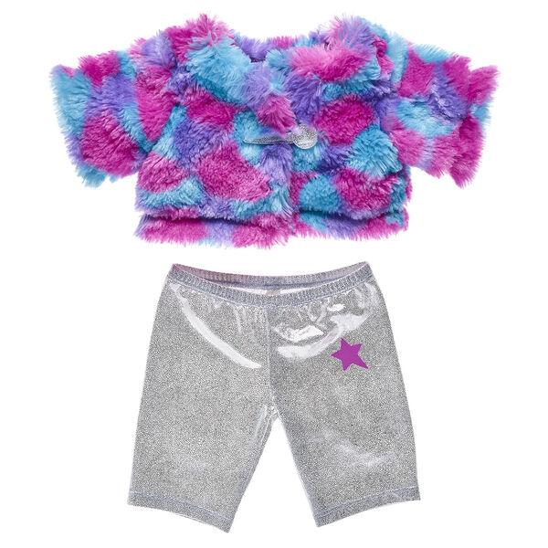 Honey Girl Fur Coat and Sparkly Pant Set 2 pc., , hi-res
