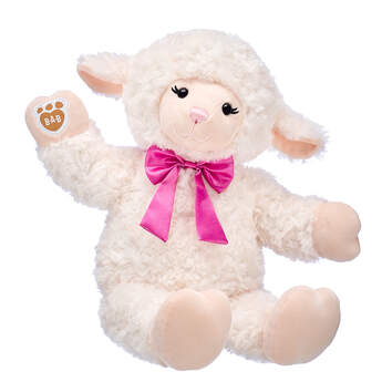 Online Exclusive Vanilla Swirls Lamb with Pink Bow, , hi-res