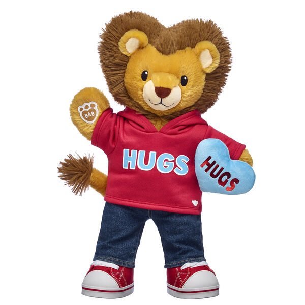lion stuffed animal gift set with heart plush and hug t-shirt