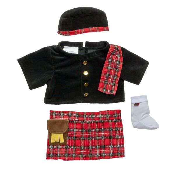 This Highlander Costume includes a tunic, kilt with sporran, hat, and socks. This authentic look includes a black velvet tunic with shiny gold buttons, a red tartan kilt with attached sporran, a black velvet hat trimmed in red tartan, and white socks with tartan flash. Add this costume to any furry friend.