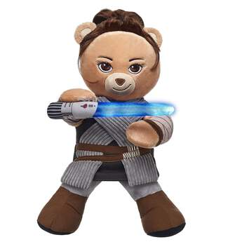 Rey Bear blasts into the galaxy! Brave and fiercely loyal, Rey Bear is an extremely skilled scavenger and comes with her signature movie look built into her fur. Plus, movie fans can add a Lightsaber and a Star WarsTM sound to make Rey Bear an even more adventurous warrior! Celebrate the Force and complete your Star WarsTM collection with Rey Bear! © & TM Lucasfilm Ltd.
