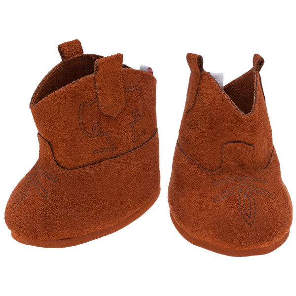 Teddy bear size brown cowboy boots feature a stitched design detail.