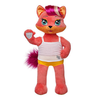 Ooh la la! Meet Misha. This coral fox is a dancer who loves to move! Misha has coral fur with orange accents. This cool fox has magenta hair and a fluffy tail. She can put a great dance together anywhere, anytime. Misha is teaching Teegan some sweet moves to take back to Risa and Viv. Add Misha's signature outfit and accessories, like her headphones and MP3 player, to make the perfect gift. Honey Girls outfits and accessories sold separately. Choose one of six stars that have a personality trait fit for your Honey Girl! Limit of 1 star per Honey Girl. Star will be inserted into plush before stuffing and cannot come separately.