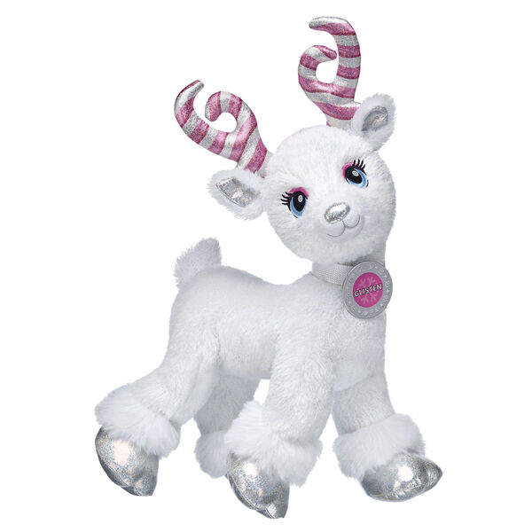 Candy Cane Glisten is the magical reindeer that Christmas wishes are made of! Glisten grew her magnificent candy cane antlers during her journey through the Candy Cane Forest. With glittery white fur and sparkly silver hooves, this legendary reindeer is ready to fulfil wishes for all the names on the Nice List this season! You can dress your Candy Cane Glisten stuffed animal in fun reindeer fashions so she's ready to soar through the sky this winter.