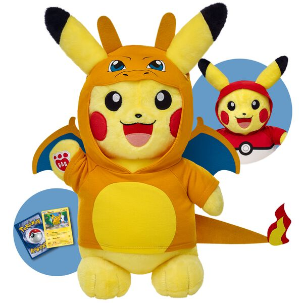 Add Pikachu to your Pokémon team! This Electric-type Pokémon has bright yellow fur and a lightning bolt-shaped tail. With two fun outfits, a 6-in-1 sound and a Build-A-Bear Workshop Exclusive Pokémon Pikachu TCG Card included, this online exclusive bundle is a must-have for any Pokémon Trainer!  ©2016 Pokémon.  ©1995–2016 Nintendo/Creatures Inc./GAME FREAK inc. TM, ®,and character names are trademarks of Nintendo.  This item cannot be purchased unstuffed, nor can stuffing adjustments be made. A sound or scent cannot be placed inside this pre-stuffed item.  Limit of 5 Pikachu Bundles per order.