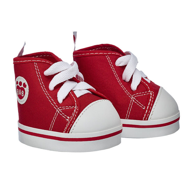 Lace up your furry friend's shoes and get to walking! These classic red canvas high-tops look great on any furry friend's paws.
