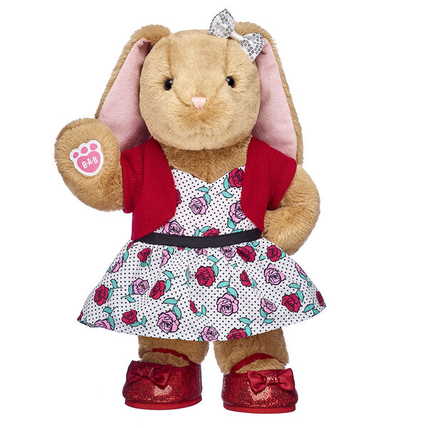 bunny stuffed animal valentines day gift set with rose print dress and shoes