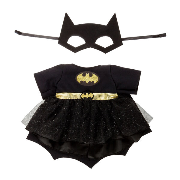 The Bat-Signal is on! Dress your furry friend in this powerful costume! The outfit features a black Batgirl bodysuit with lace outer skirt and gold waistband, attached cape, emblem and belt, plus a cowl.TM & ® DC Comics. (s16)