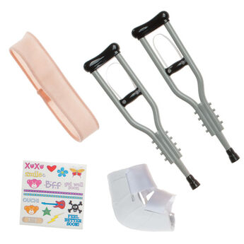 Send get well hugs! This Crutches Set is the perfect accessory when you want to wish someone a speedy recovery. Teddy bear size crutches set includes 2 silver crutches, cast, bandage, and stickers.