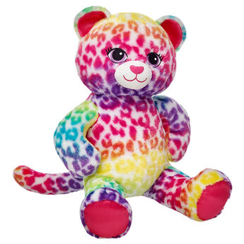 Wild Style Leopard is a colorful kitty who looks great in any outfit! This leopard has white fur with rainbow spots. Personalize it with clothing.