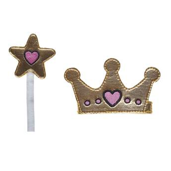 Here's a royally cute accessory set for your Kabu friend! The crown and star-shaped wand are both a shiny gold color with pink hearts. It's a fun way to give your furry friend an enchanting look! Shop online or in store at Build-A-Bear Workshop!