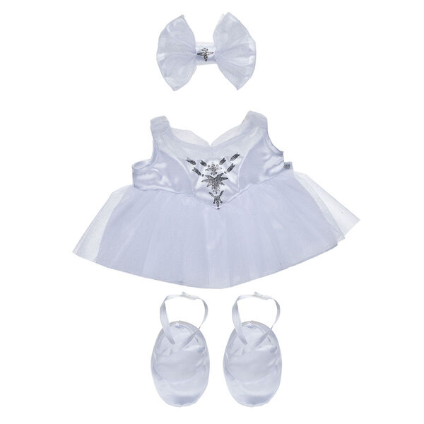 "Your furry friend can dance and twirl in this cute ballerina costume! Inspired by Disney's ""The Nutcracker and the Four Realms,"" this three-piece set includes a sparkly white dress, a hair bow and a pair of ballet flats."