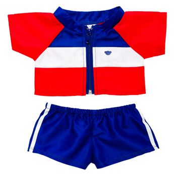 Warm up to fun in this colourful track suit. Your furry friend can show their team pride!
