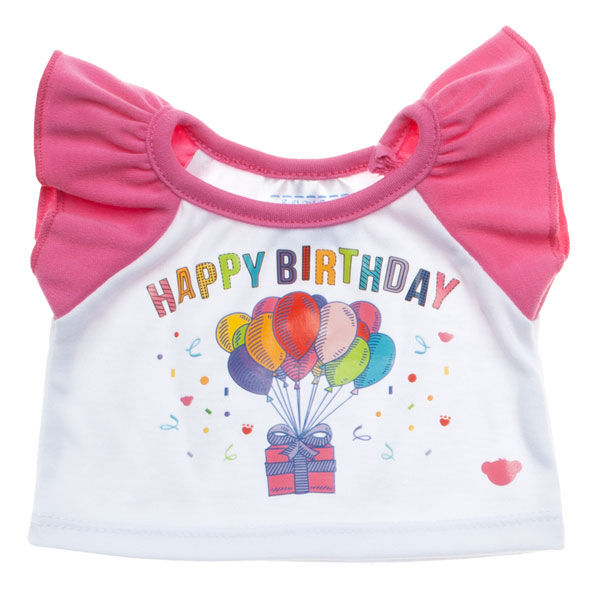 Celebrate! This teddy bear size Pink Birthday Tee is perfect for a gift or to celebrate a special day at Build-A-BearWorkshop! This short sleeve tee has pink ruffled sleeves and features a Happy Birthday graphic with balloons and a present.