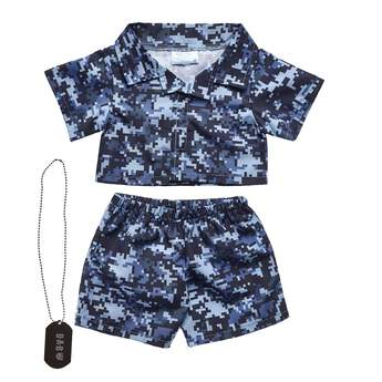 digital camo stuffed animal clothes flatlay