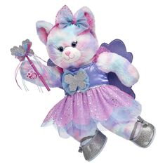 Make your own magical moments with Pastel Swirl Kitty! This feline furry friend soars to imaginative new heights in this fun-filled gift set. With a sparkly butterfly fairy costume and a matching headband and pair of flats, this special gift set is perfect for lots of fluttering fun! at Build-A-Bear®.