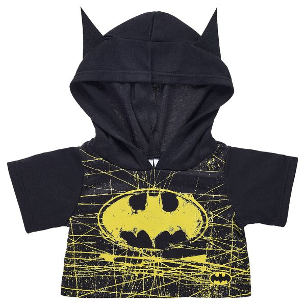 Protect Gotham City with this ultra-cool Batman hoodie! This black hoodie features the iconic yellow logo and has two bat ears on the hood! ™ & © DC Comics. (s13)