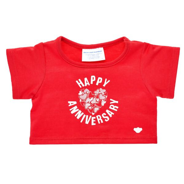 """Celebrate years of making memories together with this adorable furry friend sized T-shirt! This red tee with a heart graphic and """"Happy Anniversary"""" message is the perfect way to celebrate any special milestone."""