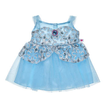 Ooh la la! Your furry friend will turn heads in this stunning blue and silver stuffed animal dress.