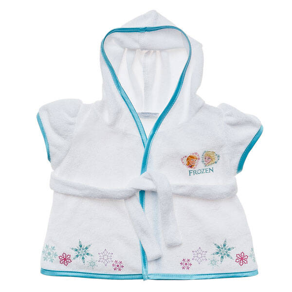 Your furry friend can keep comfy and cozy in this teddy bear size Frozen Robe! Wrap them up in a white robe that features Anna, Elsa and Snowflakes.