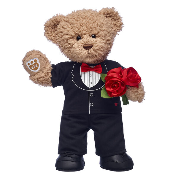 teddy bear with tuxedo and rose bouquet valentines day gift set