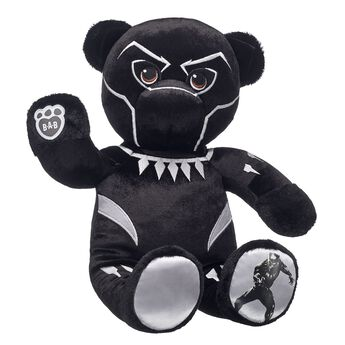 Hero. Legend. King. Live up to your legacy with Make-Your-Own Black Panther Bear! With T'Challa's signature bodysuit built into its fur, this epic furry friend is the perfect movie-watching companion for superfans. Plus, it features an ultra-cool Black Panther graphic on its paw pad. Embrace your warrior spirit with this awesome furry friend! © 2018 MARVEL