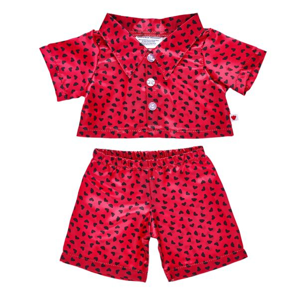 Online Exclusive Red & Black Satin Heart Pjs 2 pc., , hi-res